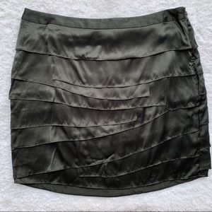 Ann Taylor Black Silk Tiered Skirt